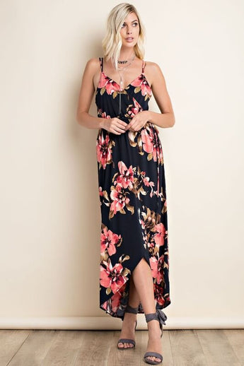 Gracefully You Floral Maxi - features adjustable double straps with criss cross pattern on the back. It has a synched in waist line with a sash tie - Lucy and Lou Boutique - www.lucyandlou.com