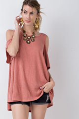 Hot Holly Cold Shoulder Short Sleeve Tunic - Short Sleeve Shirt- Lucy and Lou Boutique - www.lucyandlou.com