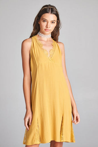 Lace Me Up Dress - short dress, sleeveless, solid woven flared dress with sheer lace insets paneled in the skirt and framing its V neckline. Back is synched with lace tie detail. Mustard color. - Lucy and Lou Boutique - www.lucyandlou.com
