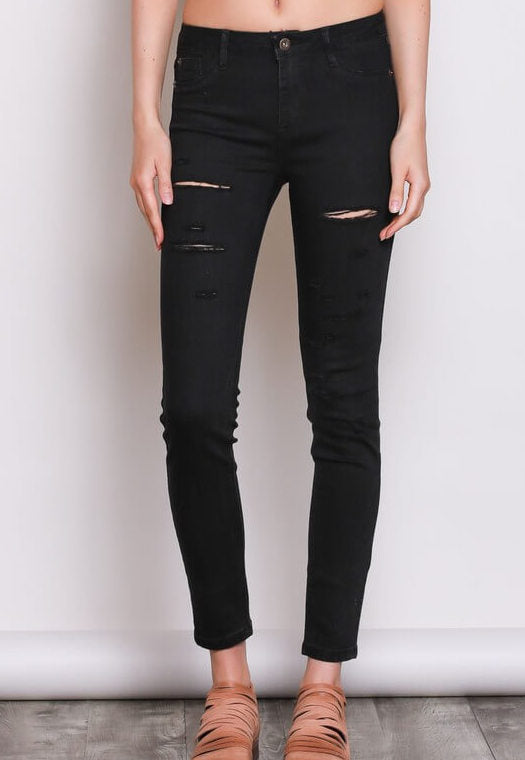 Midnight Black Distressed Jean - Jeans- Lucy and Lou Boutique - www.lucyandlou.com