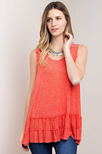 Mingle Mineral Wash Ruffle Top - features a tiered ruffle detail at the bottom. Loose fitting tunic style. Mineral washed red in color - Lucy and Lou Boutique - www.lucyandlou.com