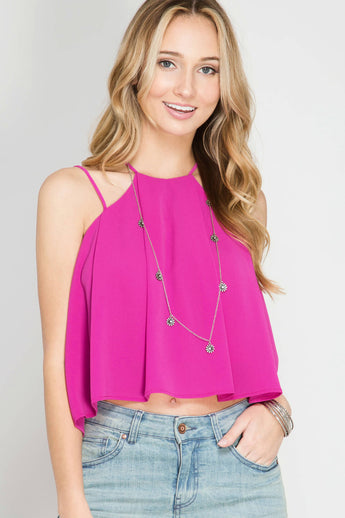 On That Note Crop Tank Top -The color is a vibrant magenta pink with several spaghetti straps and pleats. It has an eyelet cut out with a button closure on the back - Lucy and Lou Boutique - www.lucyandlou.com