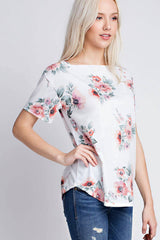 Oops-A-Daisy Short Sleeve Top - Short Sleeve Tops- Lucy and Lou Boutique - www.lucyandlou.com