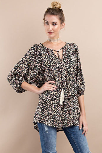 Pie In The Sky Floral 3/4 Length Sleeve Top - 3/4 Sleeve Top- Lucy and Lou Boutique - www.lucyandlou.com