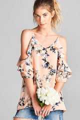 Rain On Me Floral Cold Shoulder Top - Short Sleeve Tops- Lucy and Lou Boutique - www.lucyandlou.com