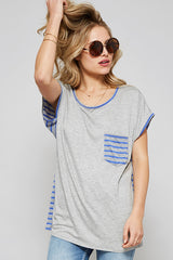 Rewind Time Striped Back Top - Short Sleeve Shirt- Lucy and Lou Boutique - www.lucyandlou.com