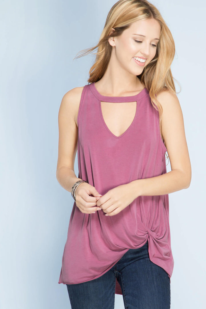 Simply So Nice Knot Tank Top - Mauve color, cut out detail on the neck line and the knot tie on the bottom- Lucy and Lou Boutique - www.lucyandlou.com