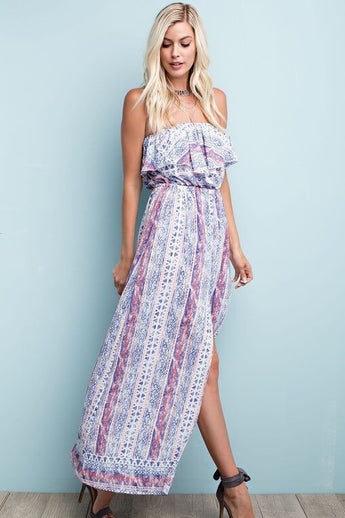 Summer Ready Strapless Maxi - Dress- Lucy and Lou Boutique - www.lucyandlou.com