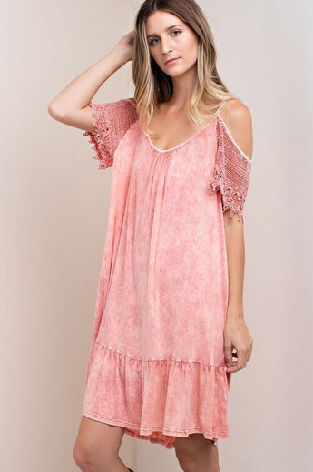 Super Freaky Pink Lace Sleeve Dress - It is mineral washed with a cold shoulder detail. Adjustable straps. The sleeves are made of eyelash lace - Lucy and Lou Boutique - www.lucyandlou.com