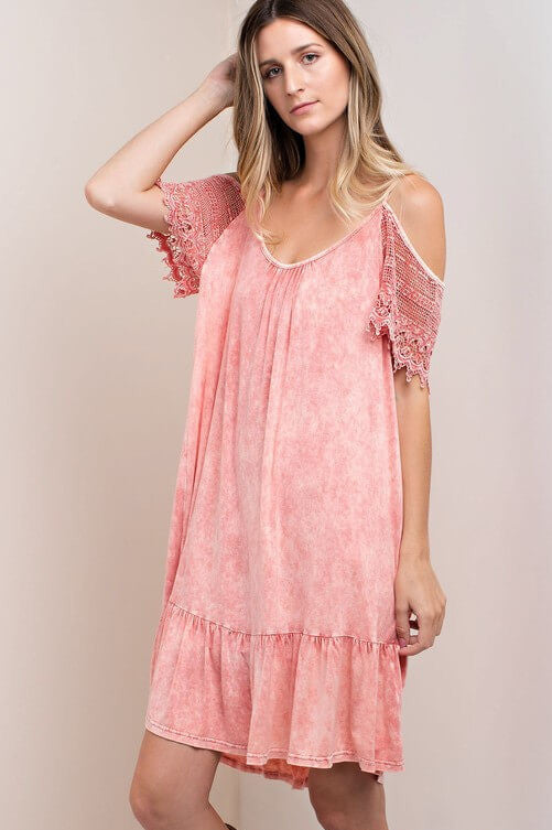Super Lovely Pink Lace Sleeve Dress - Dress- Lucy and Lou Boutique - www.lucyandlou.com
