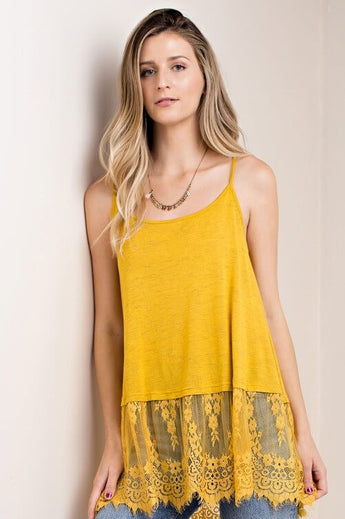 Sweet Lace Mustard Tank Top -  Spegehtti adjustable straps. Mineral wash body with eyelash lace detail at the bottom. Mustard color - Lucy and Lou Boutique - www.lucyandlou.com