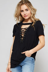 Tied Up Black Short Sleeve Top - Short Sleeve Tops- Lucy and Lou Boutique - www.lucyandlou.com