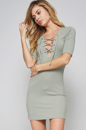 Tie Up Dream Olive Short Dress - Dress- Lucy and Lou Boutique - www.lucyandlou.com