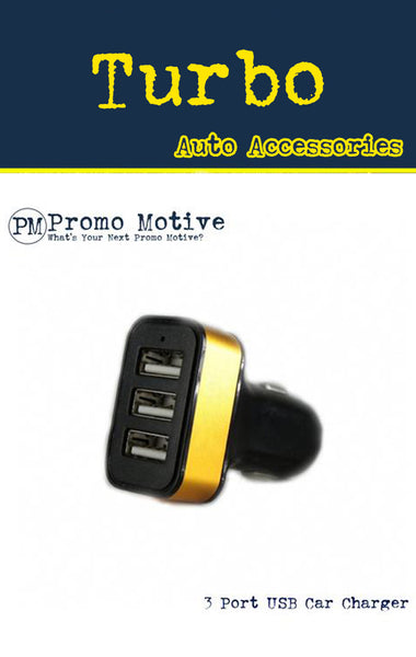 triple port car charger for phones. b2b swag.