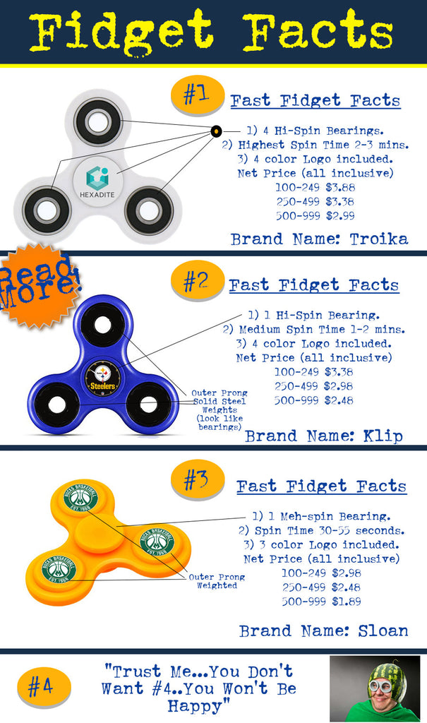 Fidget Spinner Facts. Information regarding the quality and workings of a fidget hand spinner for promotional product use.