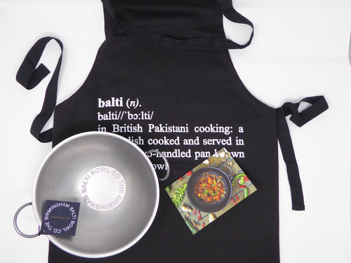 GIFT SET; Authentic Balti Bowl and Balti Chef Apron