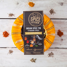 Spice Tin Masala Dabba with Handmade Silk Sari Cover. Includes 9 Indian Spices made fresh to order. Great Taste Award Winning Garam Masala.
