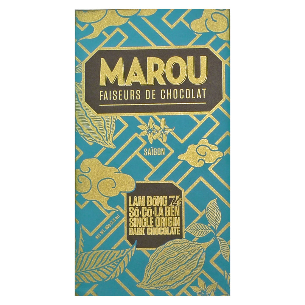 74% cocoa. Lam Dong. Dark chocolate from Marou, Vietnam