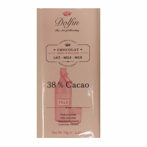 Milk. 38% cocoa by Dolfin. Belgian chocolate bar.