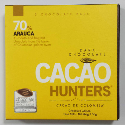 70% cocoa. Arauca. Dark chocolate by Cocoa Hunters.