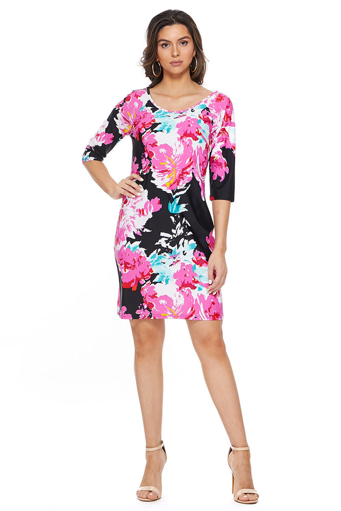 Crisscross Back Dress in Pink Floral