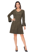 Olive Bell Sleeve Suede Dress