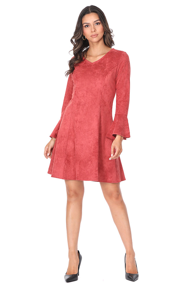 Rust Bell Sleeve Suede Dress