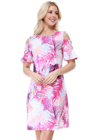 Cold Shoulder Dress in Pink Palm