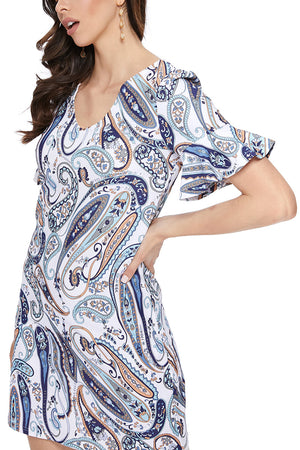 Ruffle Sleeve Dress in Blue Paisley
