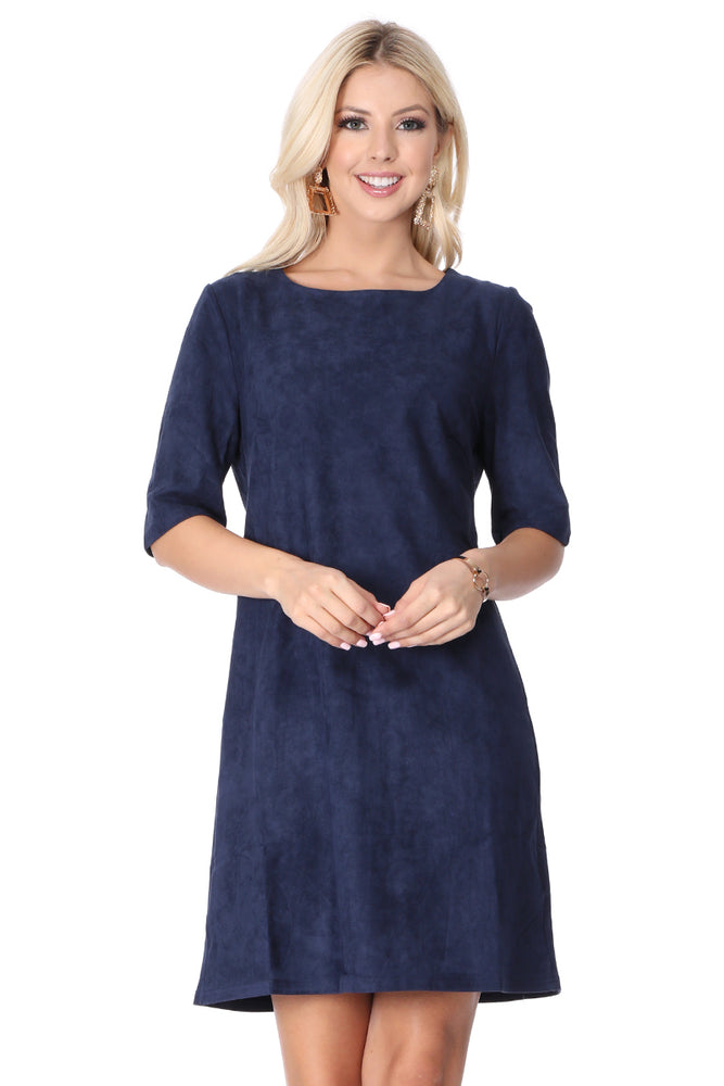Elbow Sleeve Navy Suede Dress