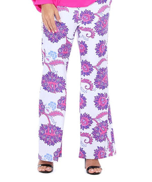 Wide Leg Floral Pants In White