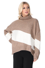 Turtle Neck Stripe Sweater in Sand