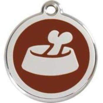 Red Dingo Bowl & Bone Enamel Pet ID Tag-Paws & Purrs Barkery & Boutique