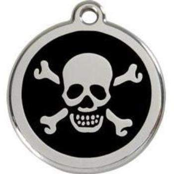 Red Dingo Skull Crossbones Enamel Pet ID Tag-Paws & Purrs Barkery & Boutique