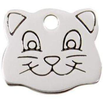Red Dingo Cat Face Stainless Steel Pet ID Tag-Paws & Purrs Barkery & Boutique