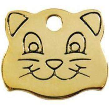Red Dingo Cat Face Brass Pet ID Tag-Paws & Purrs Barkery & Boutique