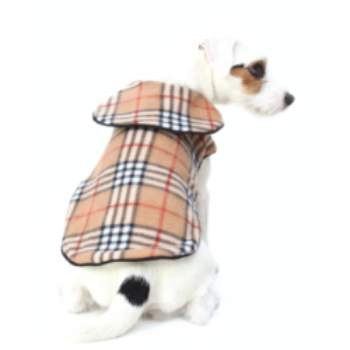 100% Virgin Burberry Style Wool Dog Coat