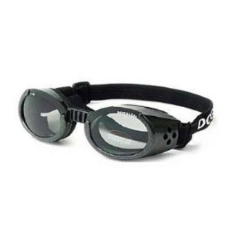 Metallic Black ILS Doggles Sunglasses for Dogs with Light Smoke Lens