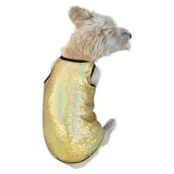 Dog Squad Gold Stardust Sequin Dog Tank Top Shirt-Paws & Purrs Barkery & Boutique