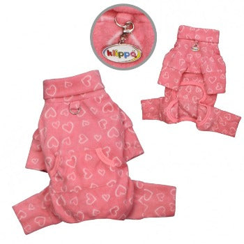 Klippo Pet Blush of Love Fleece Turtleneck Dog Pajamas-Paws & Purrs Barkery & Boutique