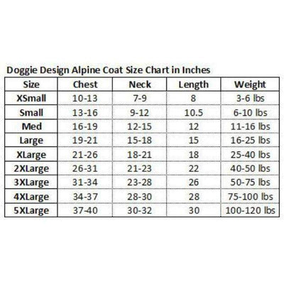 Doggie Design Alpine Extreme Weather Puffer Coat Size Chart-Paws & Purrs Barkery & Boutique