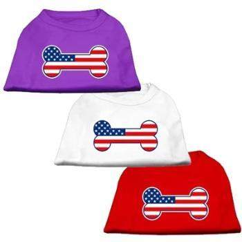 Bone Shaped American Flag Dog Shirt