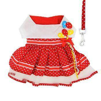 Doggie Design Red Polka Dot Balloon Dog Dress with Matching Leash-Paws & Purrs Barkery & Boutique