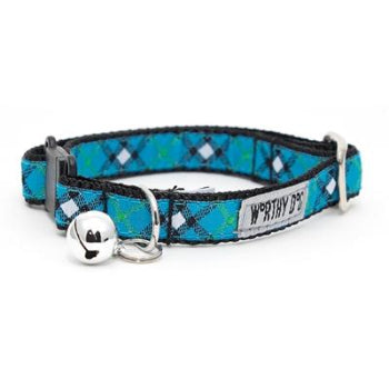 The Worthy Dog Bias Plaid Blue Cat Collar with Bell-Paws & Purrs Barkery & Boutique