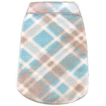 Blue & Grey Plaid Fleece Dog Pullover.