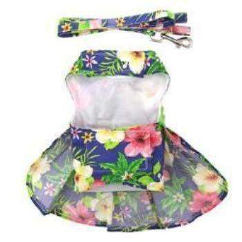 Doggie Design Blue Lagoon Hawaiian Hibiscus Dog Harness Dress-Paws & Purrs Barkery & Boutique
