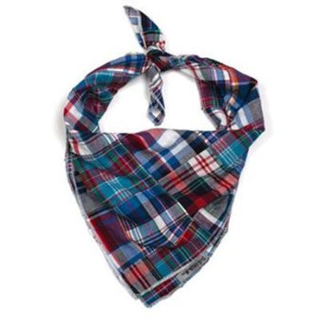 The Worthy Dog Blue Multi Patch Madras Tie Dog Bandana-Paws & Purrs Barkery & Boutique