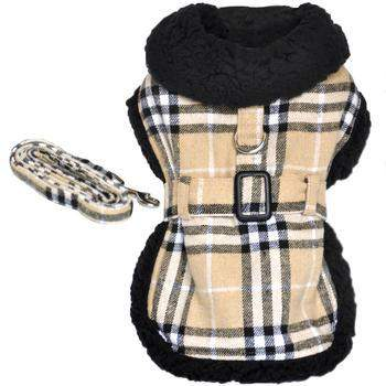 Doggie Design Brown Plaid Classic Dog Harness Coat with Leash-Paws & Purrs Barkery & Boutique