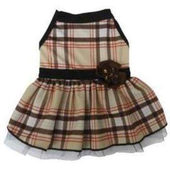 I See Spot Brown Tan Plaid Dog Dress-Paws & Purrs Barkery & Boutique
