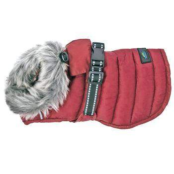 Alpine Extreme Weather Puffer Dog Coat - Burgundy.